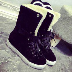Tie Up Fold Over Fleece Plush Suede Ankle Boots -