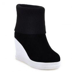 Fold Over Wedge Suede Knit Sweater Ankle Boots - BLACK