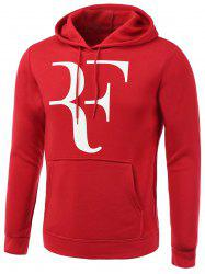 Abstract Letter Print Long Sleeve Hoodie - RED 3XL