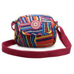Color Block Striped Print Zipper Crossbody Bag -