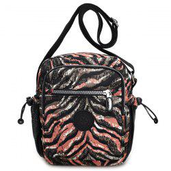 Color Splicing Striped Print Zippers Crossbody Bag - BROWN