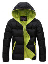 Contrast Zipper Drawstring Hooded Quilted Jacket - GREEN 3XL