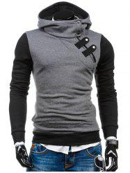 Zip-Up Slim Fit Side Color Block Hoodie - Gris Clair