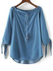 Off The Shoulder Drawstring Chambray Top -