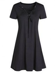 Lace-Up Vintage A-Line Mini Dress - BLACK