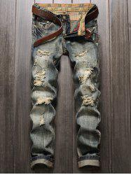Frayed Zipper Fly Straight Leg Distressed Jeans -