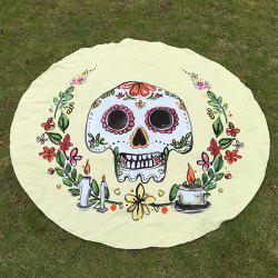 Festival Halloween Flower Candle Skull Print Polyster Round Beach Throw