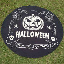 Festival Halloween Pumpkin Skull Spider Print Polyster Round Beach Throw - BLACK
