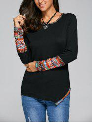 Casual Tribal Print Asymmetric Tee - BLACK XL
