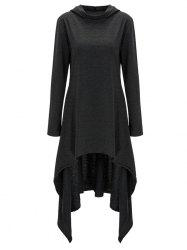 High Low Hooded Dress with Long Sleeves - BLACK GREY