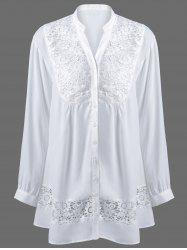 Plus Size Lace Trim Button Down Blouse - WHITE