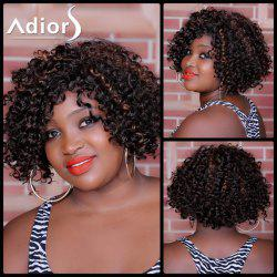 Adiors Short Highlight Curly Side Bang Synthetic Wig - COLORMIX