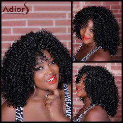 Adiors Long Inclined Bang Kinky Curly Synthetic Wig -