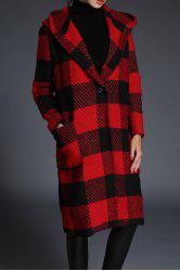 Plaid Hooded Wool Coat -