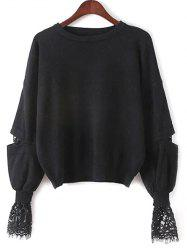 Lantern Sleeve Lace Spliced Loose Sweater