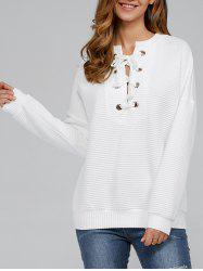 Lace-Up Ribbed Sweatshirt - WHITE