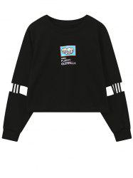 Crew Neck Print Patched Graphic Sweatshirt