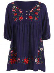 Embroidered Plus Size Casual Flower Dress - PURPLISH BLUE