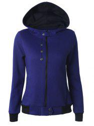 Buttoned Hooded Cottony Jacket - BLUE