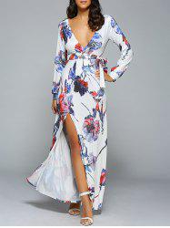 Belted Full Sleeve Floral High Slit Plunging Neck Dress