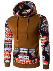 Patchwork Design Geometric Print Brown Hoodie - COFFEE M