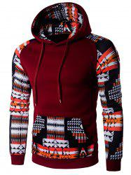 Patchwork Design Geometric Print Hoodie - WINE RED