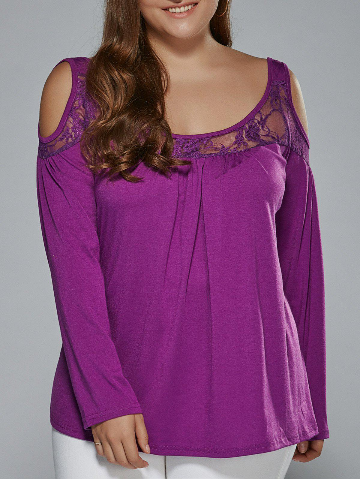 Long Sleeve Lace Patchwork Cold Shoulder T-ShirtWOMEN<br><br>Size: 3XL; Color: PURPLE; Material: Polyester; Shirt Length: Regular; Sleeve Length: Full; Collar: Scoop Neck; Style: Fashion; Season: Fall,Spring; Pattern Type: Patchwork; Weight: 0.239kg; Package Contents: 1 x T-Shirt;