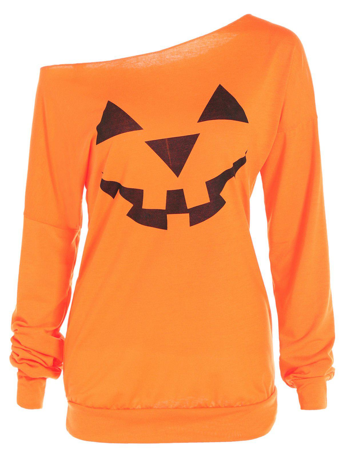 One Shoulder Pumpkin Print Halloween SweatshirtWOMEN<br><br>Size: XL; Color: YELLOW ORANGE; Material: Polyester; Shirt Length: Regular; Sleeve Length: Full; Style: Fashion; Pattern Style: Print; Season: Fall,Spring; Weight: 0.219kg; Package Contents: 1 x Sweatshirt;