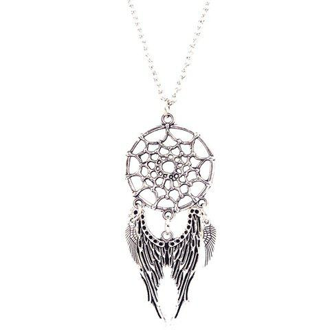 Cobweb Angel Wings NecklaceJEWELRY<br><br>Color: SILVER; Item Type: Pendant Necklace; Gender: For Women; Style: Trendy; Shape/Pattern: Others; Weight: 0.050kg; Package Contents: 1 x Necklace;