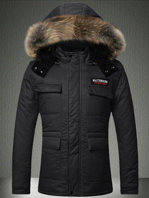 Cheap Multi-Pocket Faux Fur Hooded Quilted Jacket