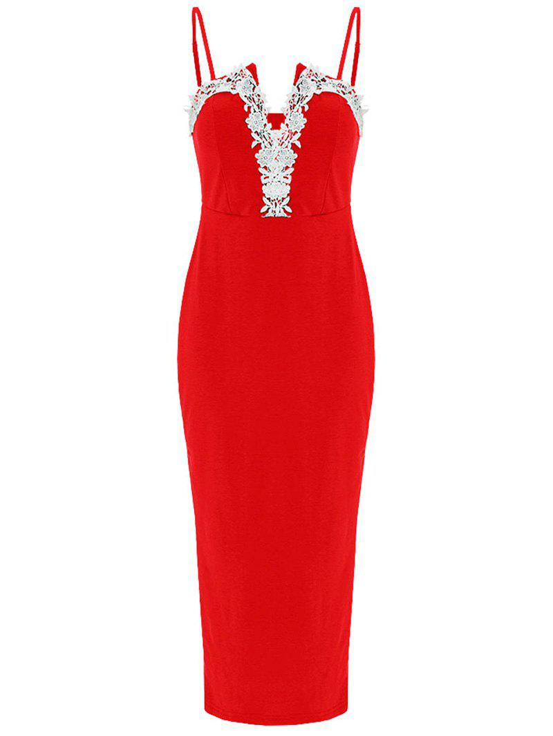 Best Spaghetti Strap Lace Applique Bodycon Dress