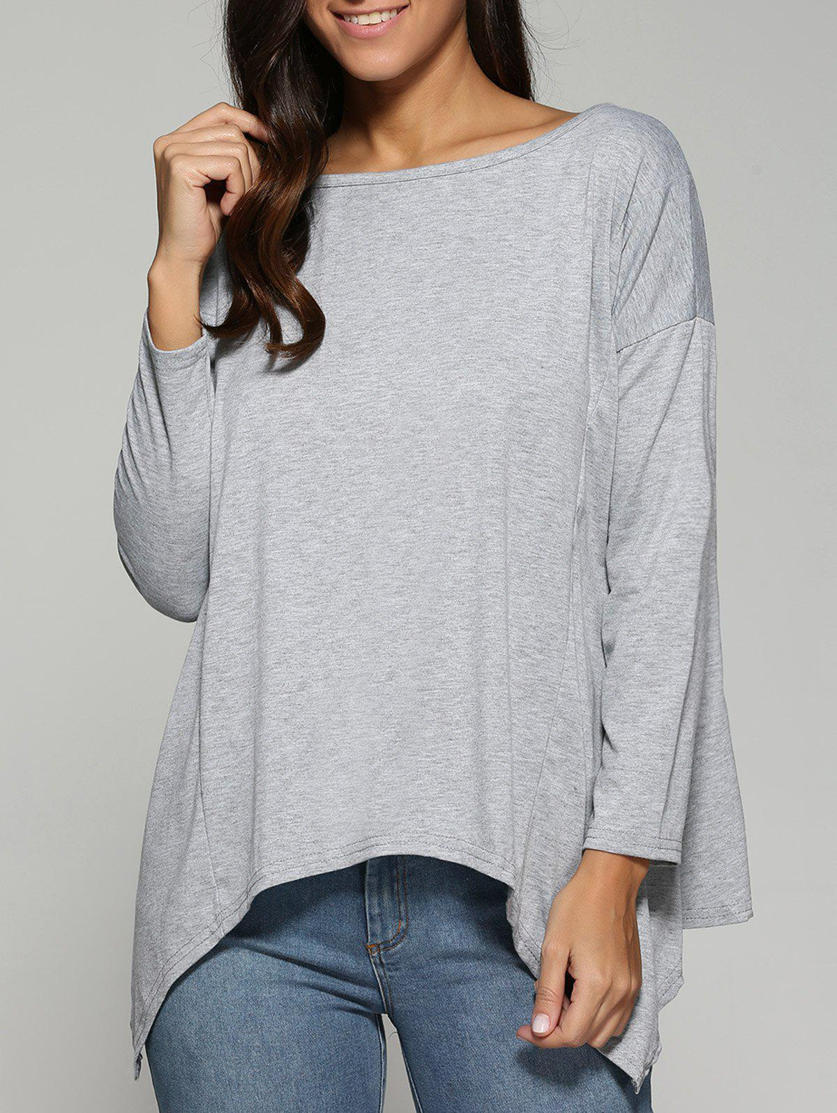 Outfit Autumn Asymmetric Drop Shoulder T-Shirt