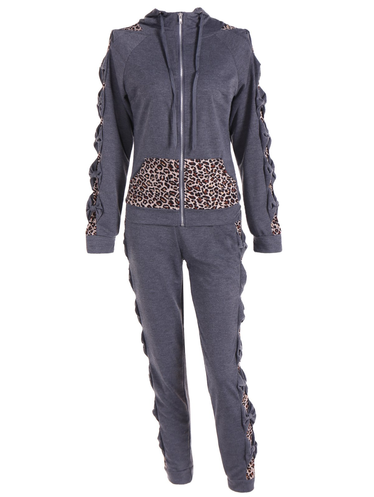 Outfits Leopard Printed Pants and Zip Up Hooded Top