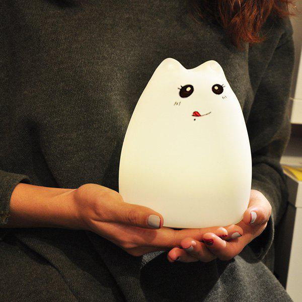 Cat Cartoon LED Touching Colorful Ombre Night LightHOME<br><br>Color: WHITE; Style: Modern/Contemporary; Categories: Light; Material: Other; Size(CM): 12.2*12.2*15.3CM; Weight: 0.541kg; Package Contents: 1 x Night Light;