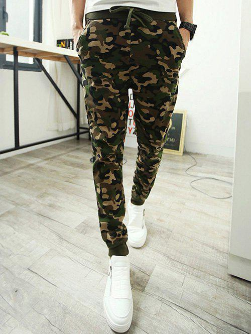 Trendy Single Pocket Back Camo Drawstring Army Jogger Pants