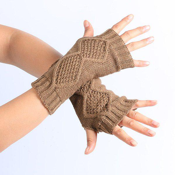 Winter Rhombus Knit Fingerless GlovesACCESSORIES<br><br>Color: KHAKI; Group: Adult; Gender: For Women; Style: Fashion; Glove Length: Wrist; Pattern Type: Geometric; Material: Acrylic; Weight: 0.052kg; Package Contents: 1 x Gloves (Pair);