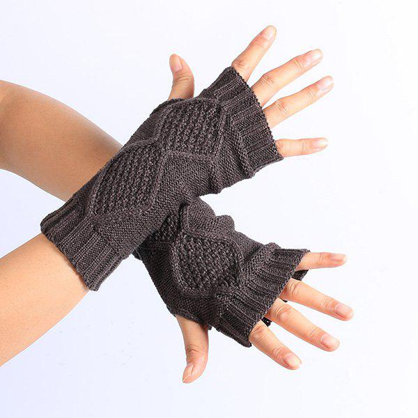 Winter Rhombus Knit Fingerless GlovesACCESSORIES<br><br>Color: DEEP GRAY; Group: Adult; Gender: For Women; Style: Fashion; Glove Length: Wrist; Pattern Type: Geometric; Material: Acrylic; Weight: 0.052kg; Package Contents: 1 x Gloves (Pair);
