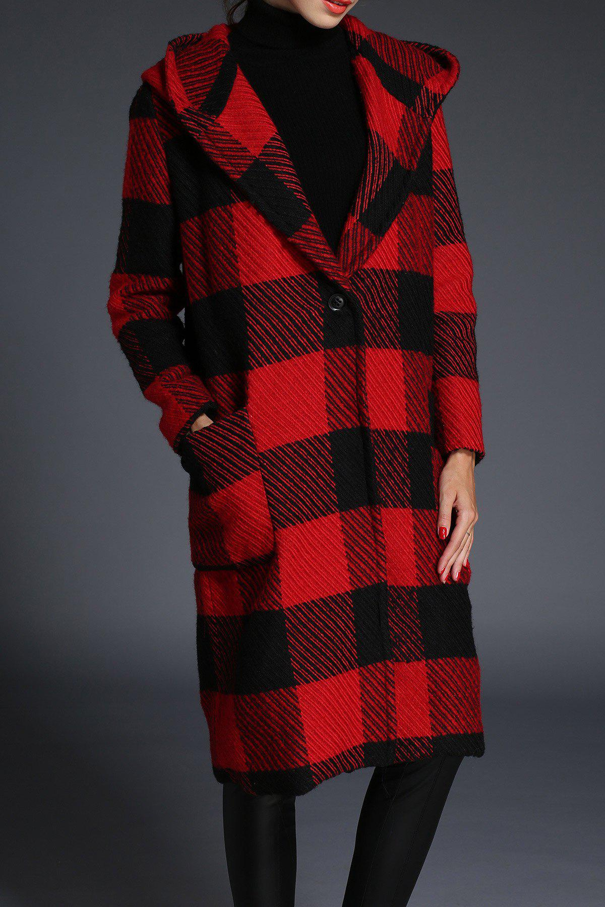 Cheap Plaid Hooded Wool Coat