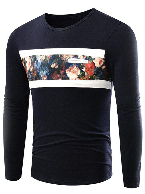 Best Round Neck Floral Print Long Sleeve T-Shirt