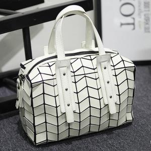 Metallic Zipper Closure Geometric Pattern Tote Bag
