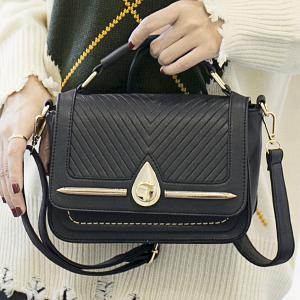 Lattice Pattern Stitching Flap Crossbody Bag