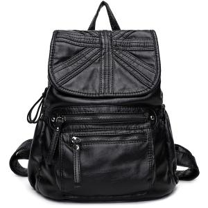 Zip Stitched Soft Flap Backpack