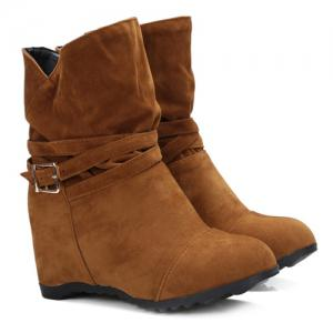 Pull On Wedge Wedge Boots - BROWN 39