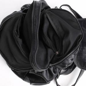 Zip Cousu souple Flap Backpack - Noir