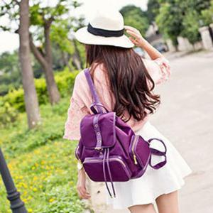 Nylon Pocket Buckle Flap Drawstring Backpack -