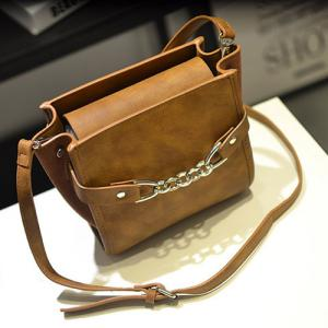 Fake Leather Shoulder Bag -