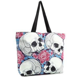 Flower Skull Print Canvas Shoulder Bag -