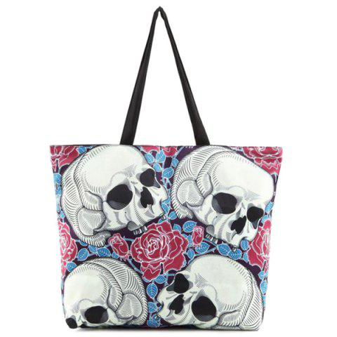 Hot Flower Skull Print Canvas Shoulder Bag