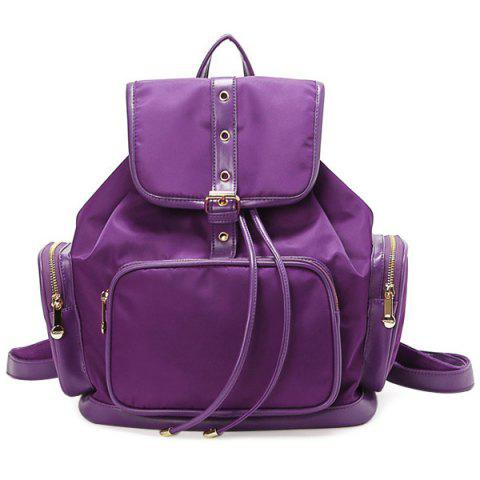 Fancy Nylon Pocket Buckle Flap Drawstring Backpack