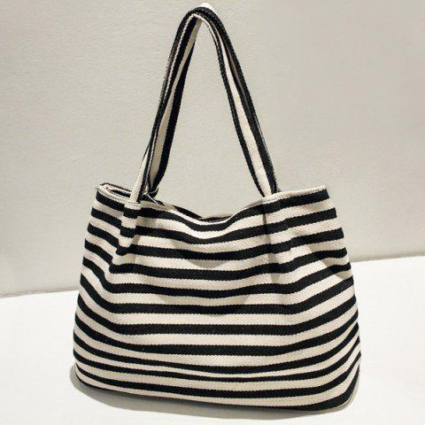 Zipper Stripe Canvas Bag - BLACK
